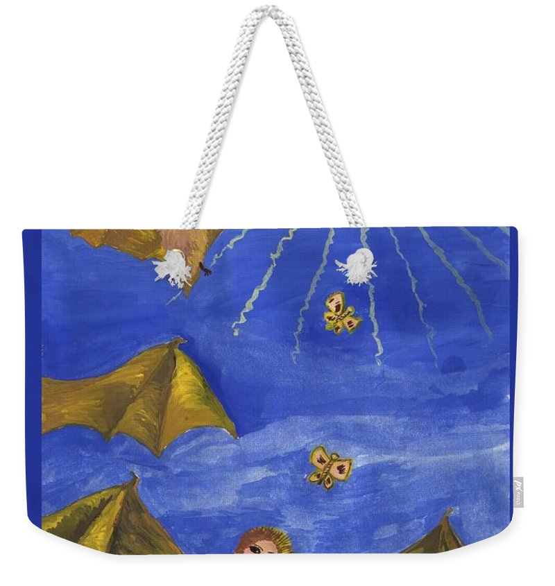 Tarot Weekender Tote Bag featuring the painting Tarot 18 The Moon by Sushila Burgess
