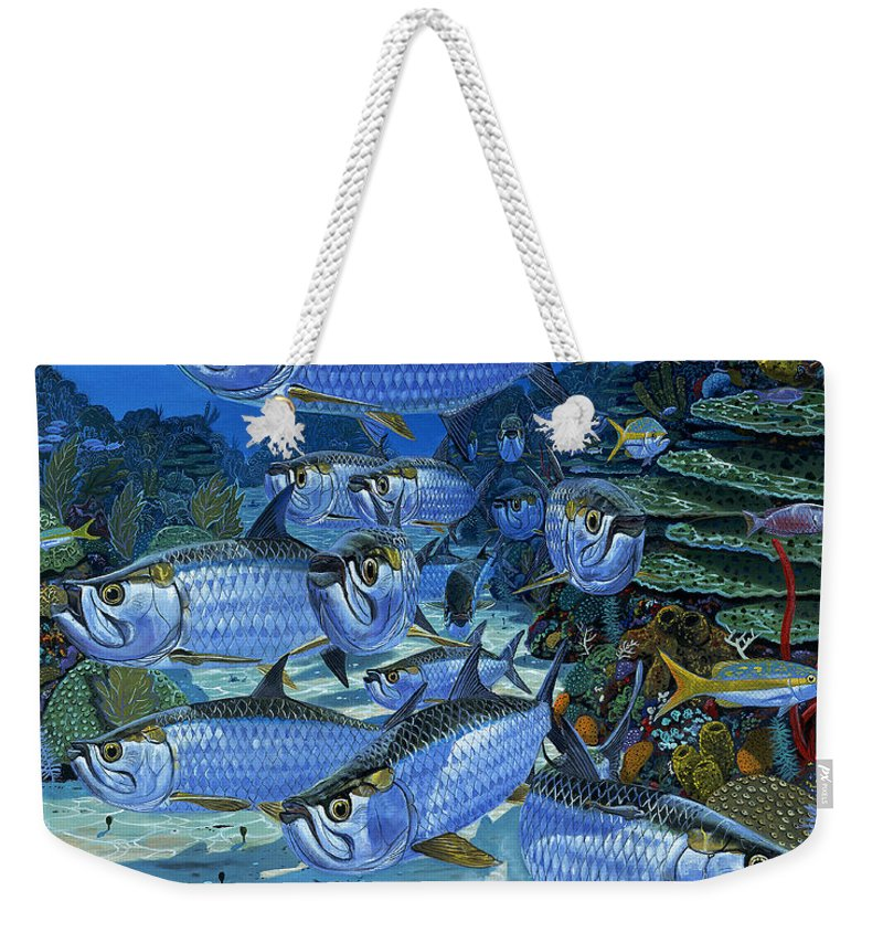 Tarpon Weekender Tote Bag featuring the painting Tarpon Alley In0019 by Carey Chen