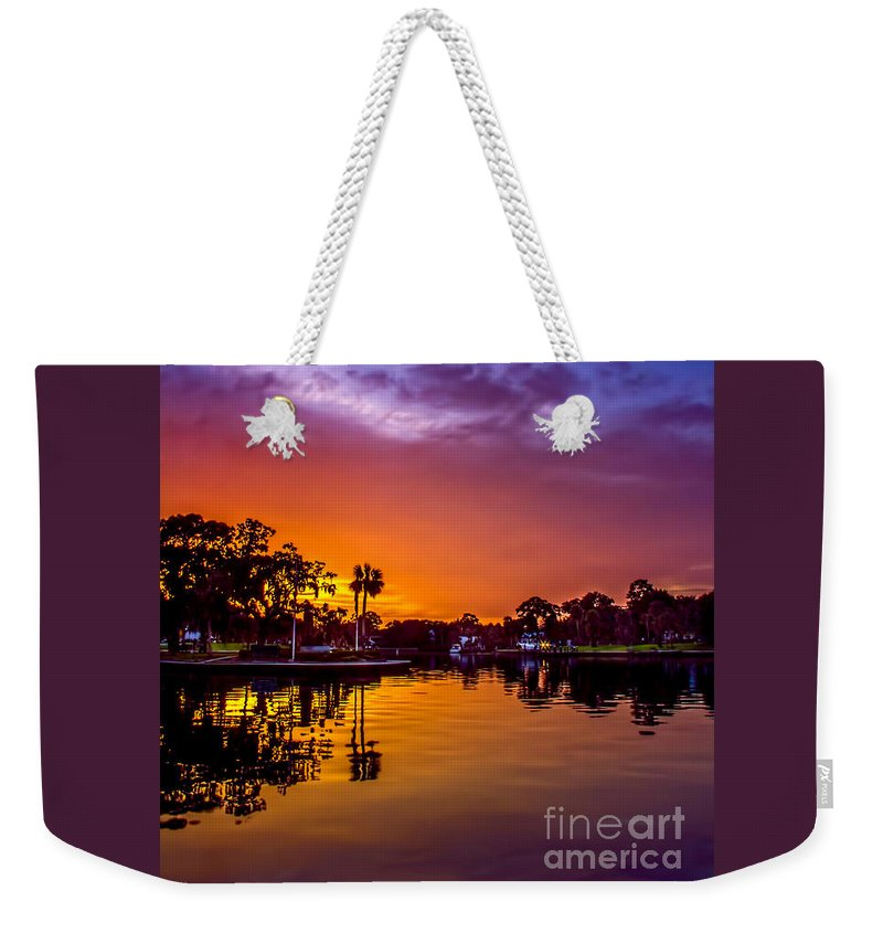 Sunset Weekender Tote Bag featuring the photograph Tarpon Springs Glow by Marvin Spates