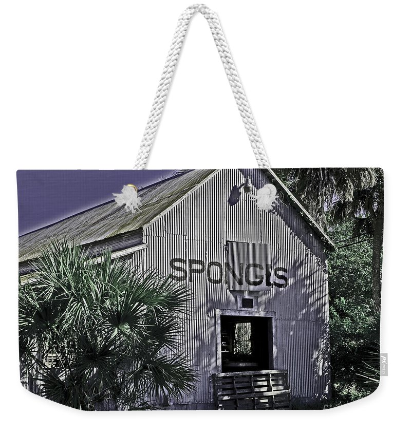 Tarpon Springs Weekender Tote Bag featuring the photograph Tarpon Springs Warehouse II by Stephen Whalen