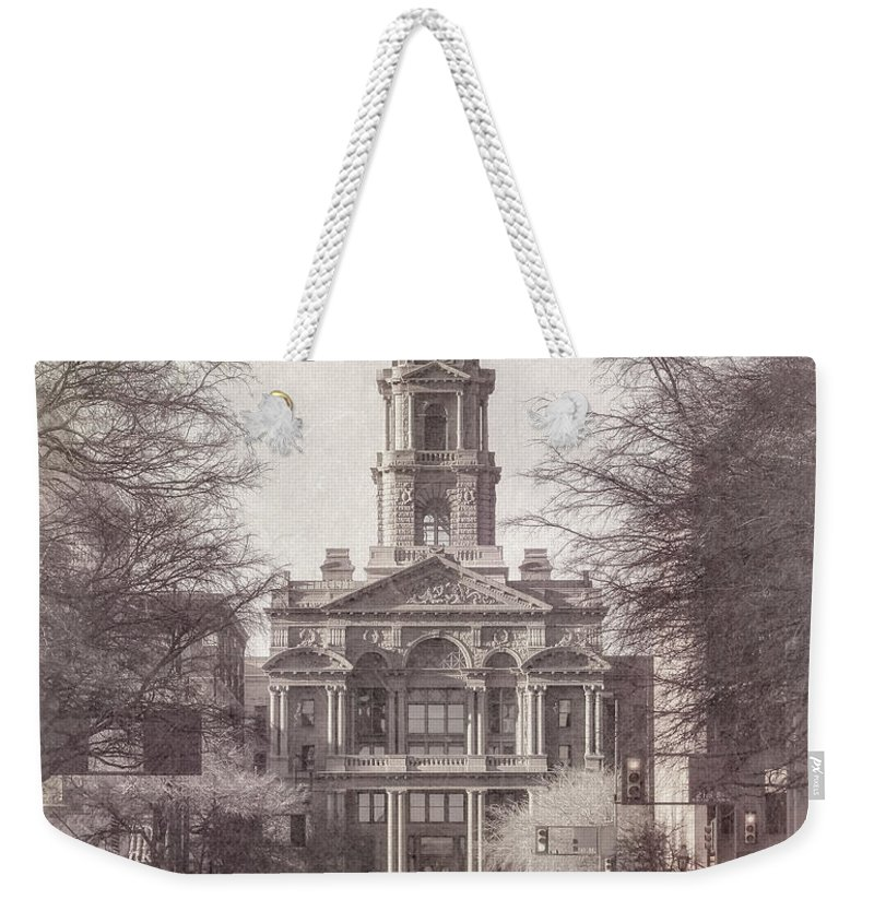Courthouse Weekender Tote Bag featuring the photograph Tarrant County Courthouse by Joan Carroll