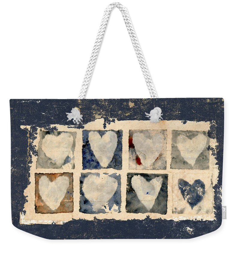 Eight Weekender Tote Bag featuring the photograph Tattered Hearts by Carol Leigh