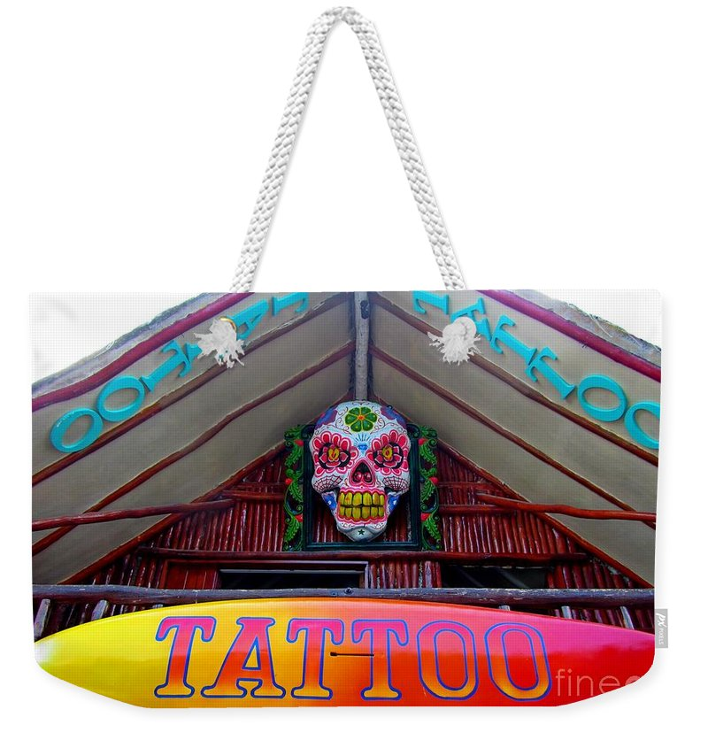 Tattoo Sign Weekender Tote Bag featuring the photograph Tattoo Sign by John Malone