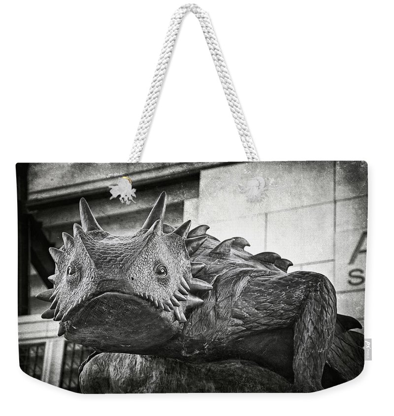 Joan Carroll Weekender Tote Bag featuring the photograph Tcu Horned Frog Bw by Joan Carroll