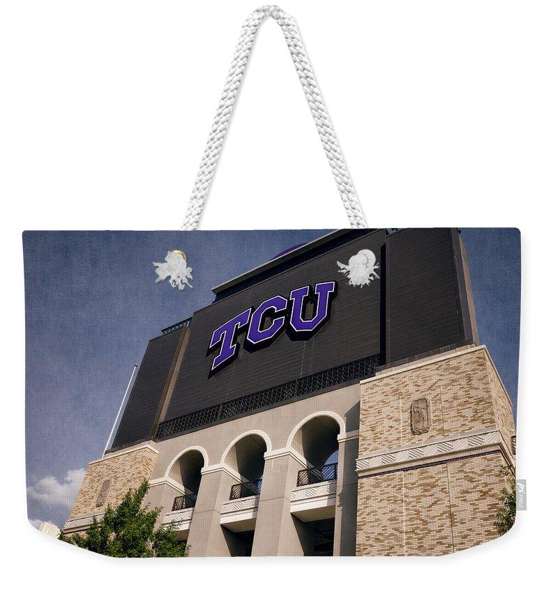 Joan Carroll Weekender Tote Bag featuring the photograph Tcu Stadium Entrance II by Joan Carroll