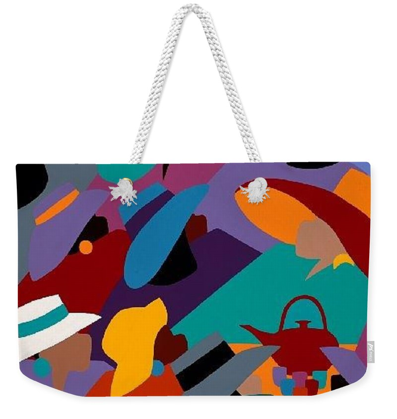 Women Weekender Tote Bag featuring the painting Tea And Conversations by Synthia SAINT JAMES