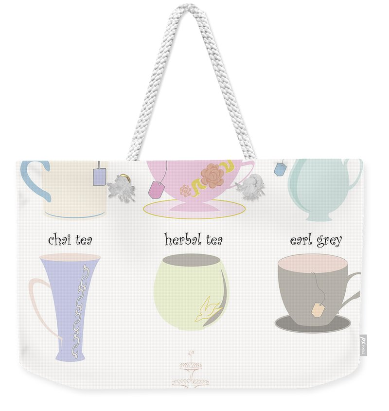 Food Weekender Tote Bag featuring the photograph Tea Cup Collection Vector by Tim Hester