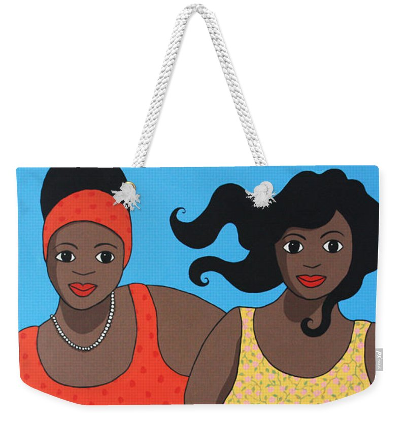 Women Weekender Tote Bag featuring the painting Tea For Two by Trudie Canwood