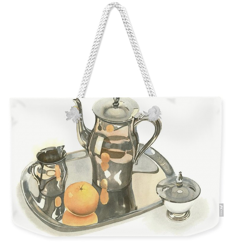 Tea Service With Orange Weekender Tote Bag featuring the painting Tea Service With Orange by Kip DeVore
