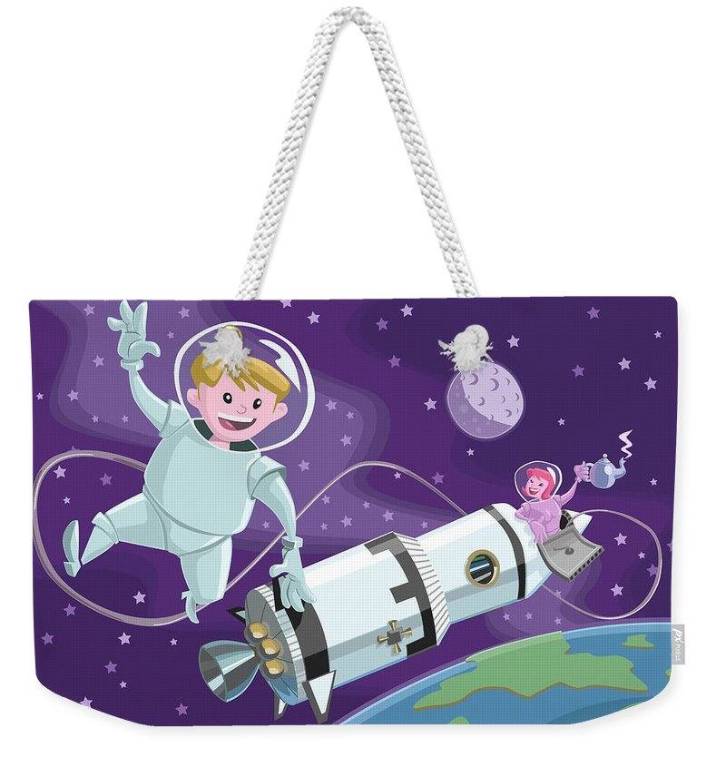 Space Weekender Tote Bag featuring the painting Tea Time Space Walk by Martin Davey