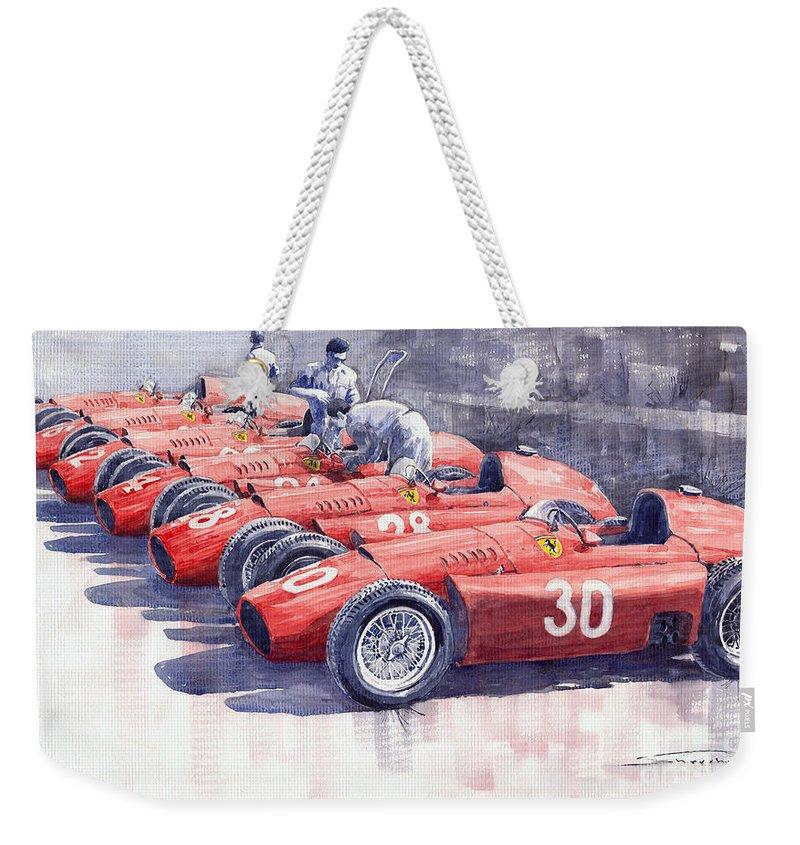 Watercolour Weekender Tote Bag featuring the painting 1956 Team Lancia Ferrari D50 Type C 1956 Italian Gp by Yuriy Shevchuk