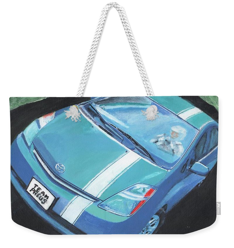 Toyota Prius Weekender Tote Bag featuring the painting Team Prius by Cliff Wilson