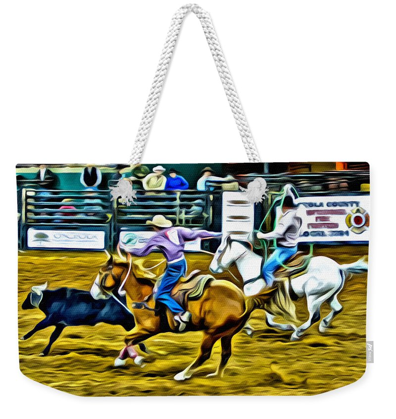 Team Ropers Weekender Tote Bag featuring the photograph Team Ropers by Alice Gipson