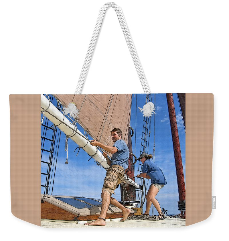 Schooner Weekender Tote Bag featuring the photograph Teamwork On The Lake by Ann Horn