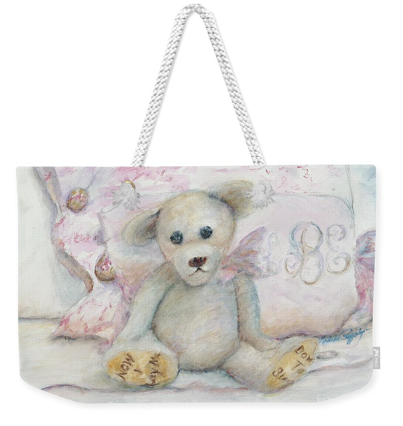 Teddy Bear Weekender Tote Bag featuring the painting Teddy Friend by Nadine Rippelmeyer