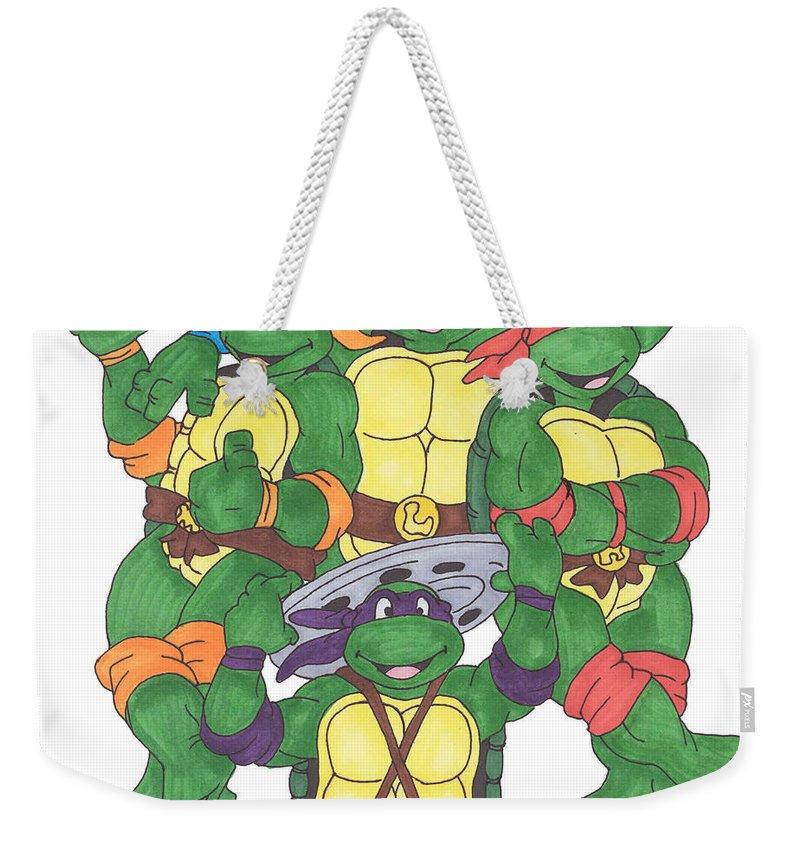 Fanart Weekender Tote Bag featuring the painting Teenage Mutant Ninja Turtles by Yael Rosen