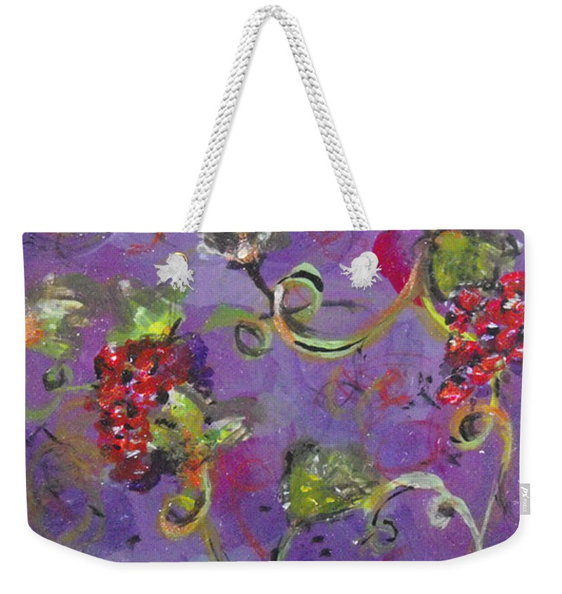 Grapes Weekender Tote Bag featuring the painting Teeny Tiny Pinot Party by Catherine Sprague