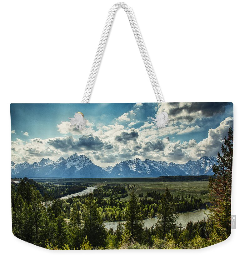 River Weekender Tote Bag featuring the photograph Teewinot And The Snake by Jack R Perry