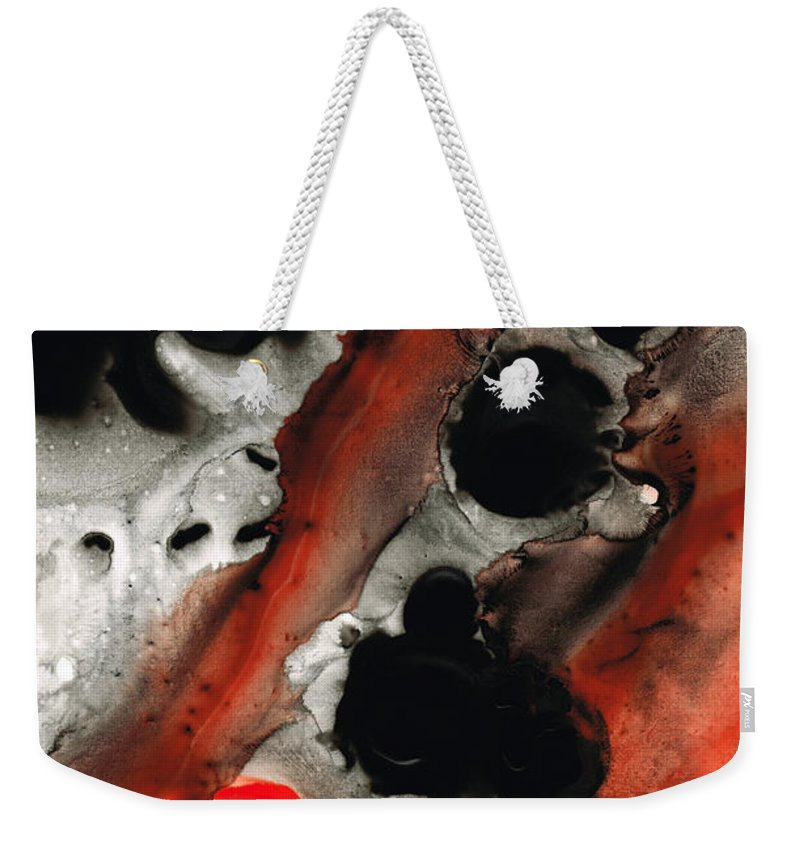 Red Weekender Tote Bag featuring the painting Tempest - Red And Black Painting by Sharon Cummings