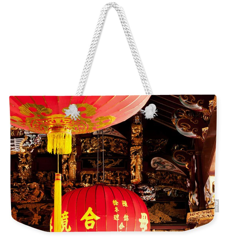 Red Weekender Tote Bag featuring the photograph Temple Lanterns 02 by Rick Piper Photography