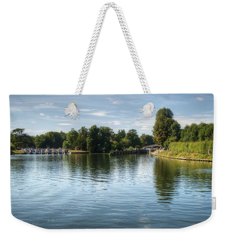 Temple Lock Weekender Tote Bag featuring the photograph Temple Lock by Chris Day