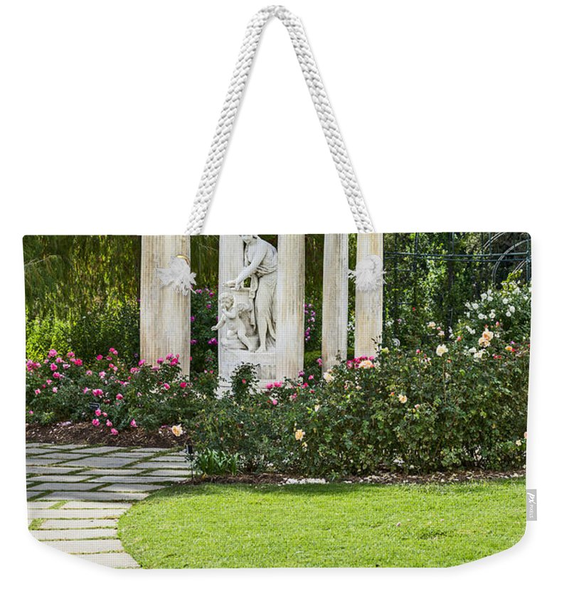 Huntington Weekender Tote Bag featuring the photograph Temple Of Love Statue At The Rose Garden Of The Huntington. by Jamie Pham
