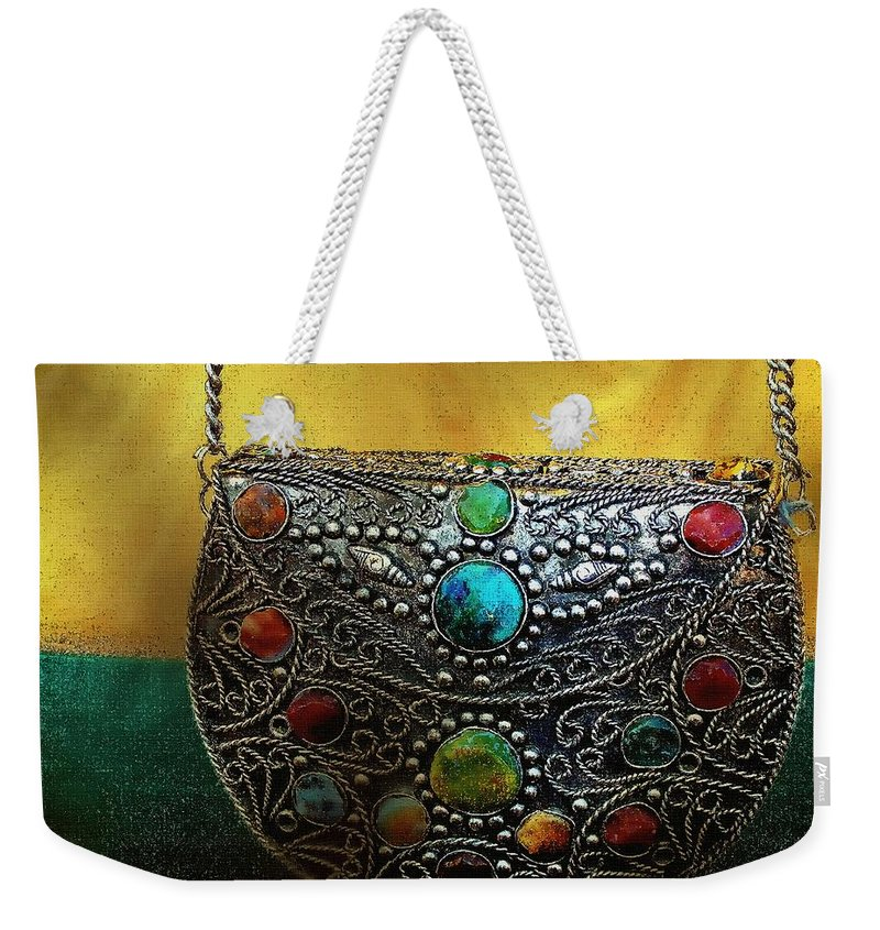 Medieval Weekender Tote Bag featuring the painting Temptation By Torchlight by RC DeWinter