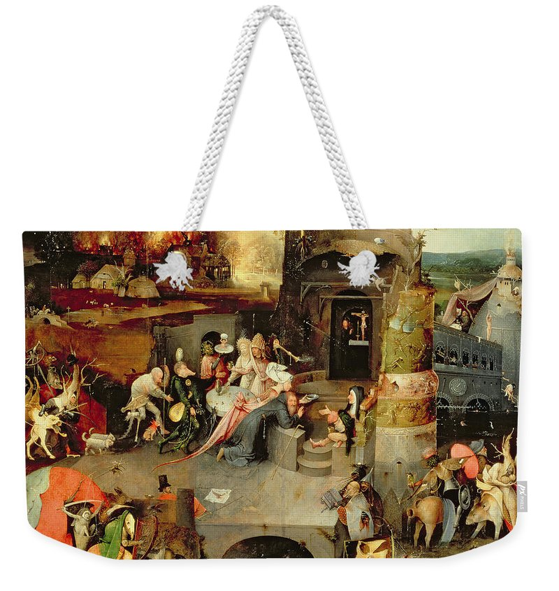 Hieronymus Bosch Weekender Tote Bag featuring the painting Temptation Of Saint Anthony Centre Panel Detail by Hieronymus Bosch