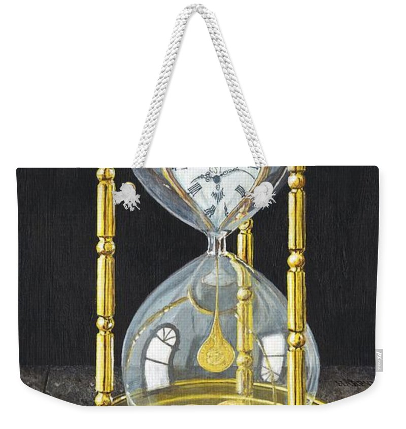 Still Life Weekender Tote Bag featuring the painting Tempus Pecunia Est by Richard Harpum