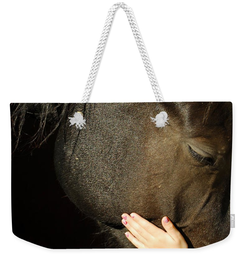 Horse Weekender Tote Bag featuring the photograph Tenderness by Donna Blackhall