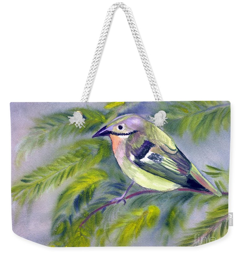 Animal Weekender Tote Bag featuring the painting Tenerife Goldcrest by Donna Walsh
