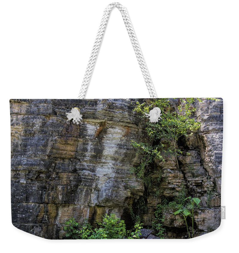 Tennessee Weekender Tote Bag featuring the photograph Tennessee Limestone Layer Deposits by Kathy Clark