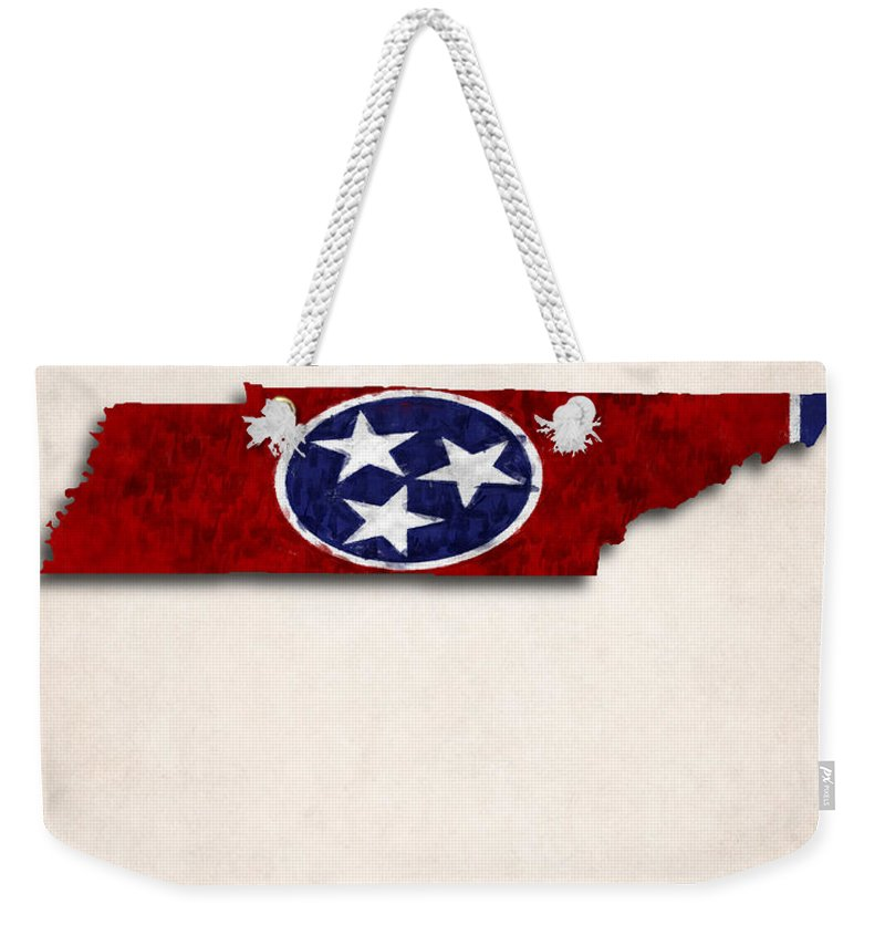 America Weekender Tote Bag featuring the digital art Tennessee Map Art With Flag Design by World Art Prints And Designs