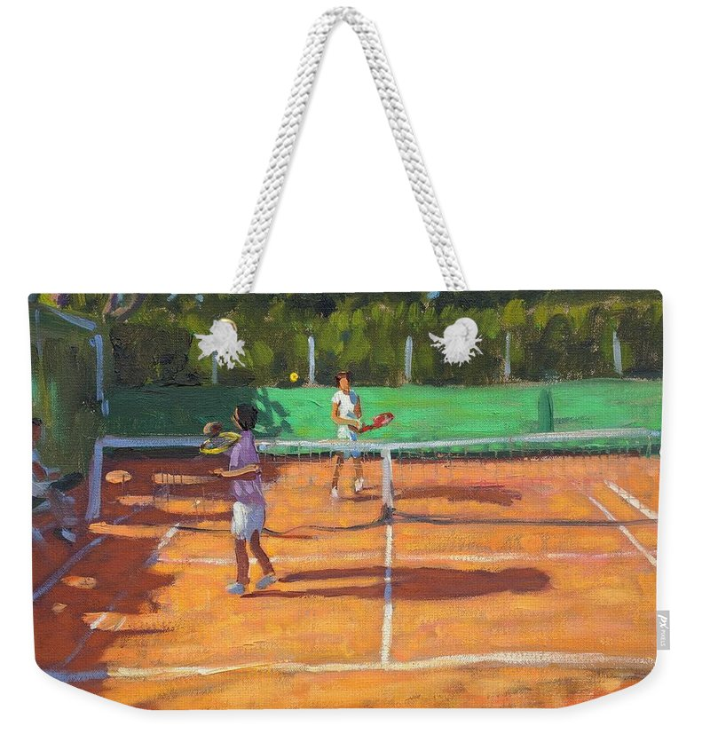 Tennis Weekender Tote Bag featuring the painting Tennis Practice by Andrew Macara