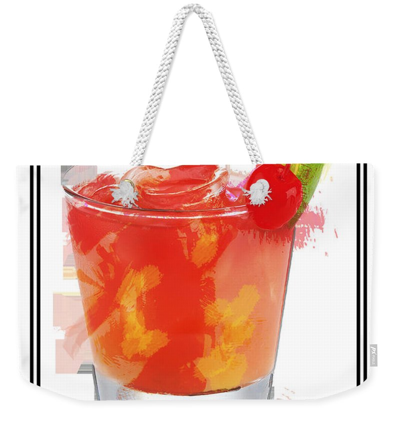 Drink Weekender Tote Bag featuring the painting Tequila Sunrise Cocktail Marker Sketch by Elaine Plesser