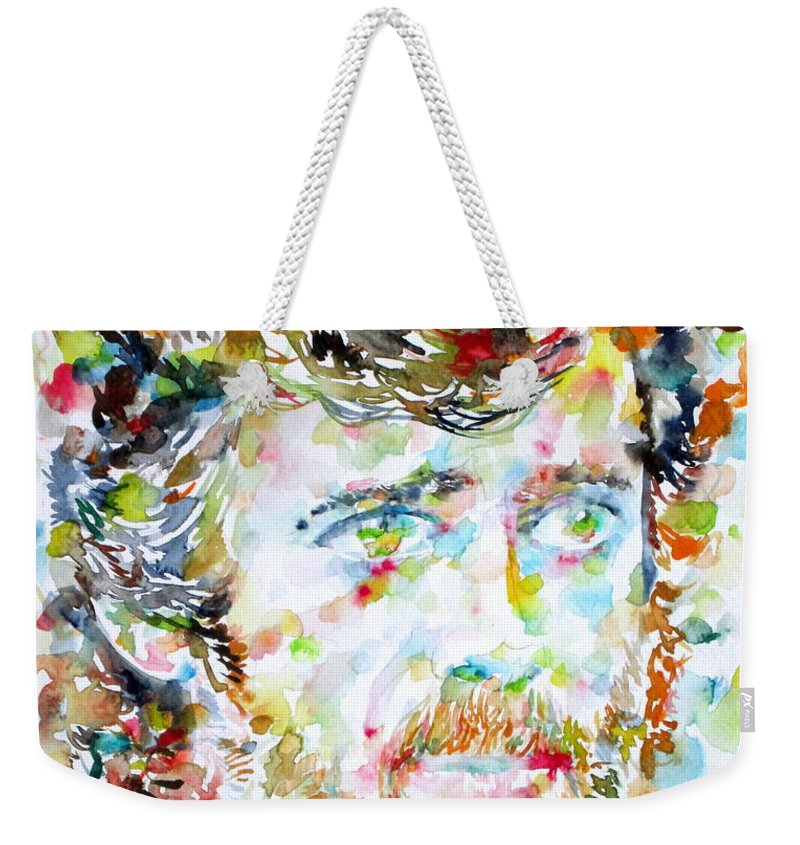 Terence Mckenna Weekender Tote Bag featuring the painting Terence Mckenna - Watercolor Portrait.3 by Fabrizio Cassetta
