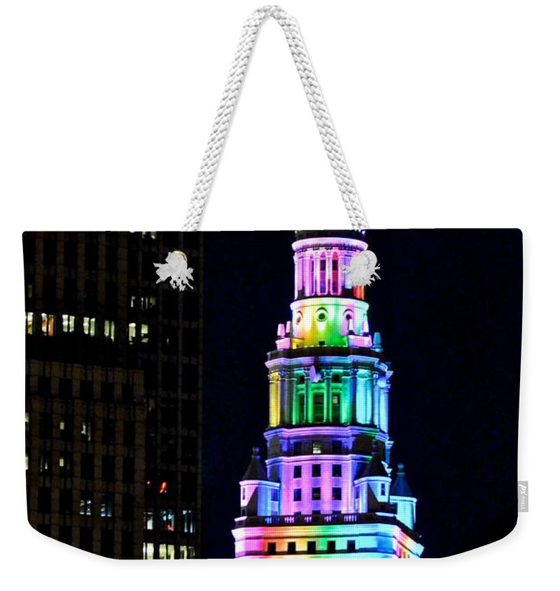 Rainbow Weekender Tote Bag featuring the photograph Terminal Tower Rainbow by Frozen in Time Fine Art Photography
