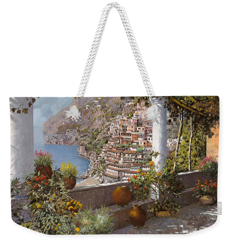 Positano Weekender Tote Bag featuring the painting terrazza a Positano by Guido Borelli