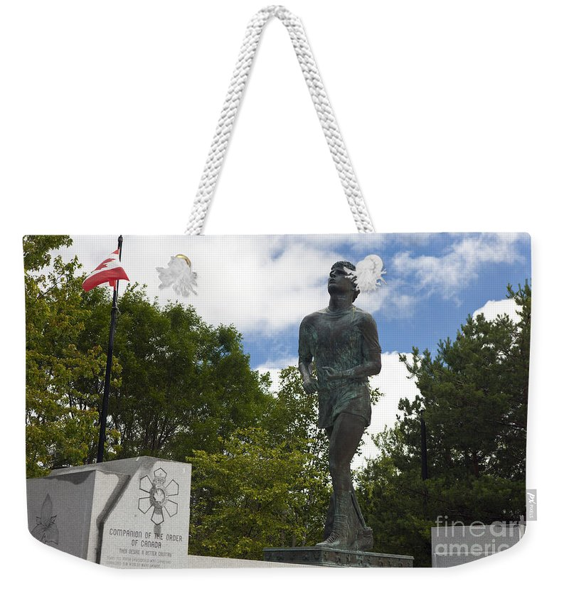 Terry Fox Weekender Tote Bag featuring the photograph Terry Fox Monument by Jason O Watson