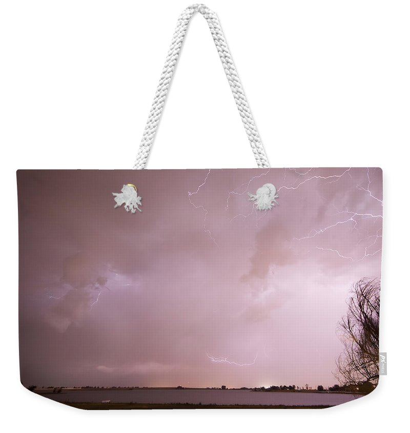 Lightning Weekender Tote Bag featuring the photograph Terry Lake Lightning Thunderstorm by James BO Insogna