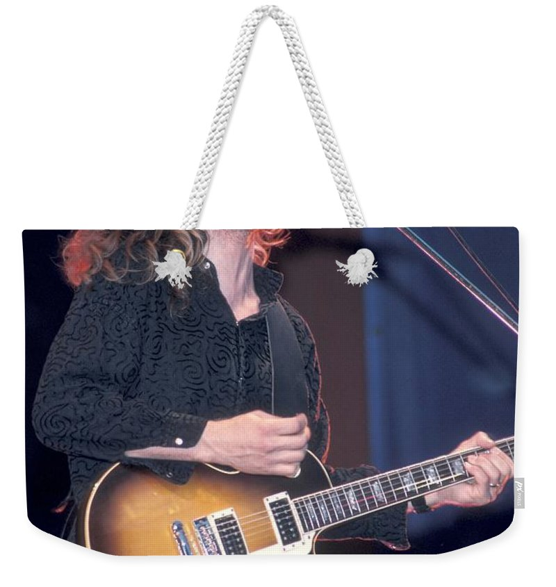 Tesla Weekender Tote Bag featuring the photograph Tesla - Frank Hannon by Concert Photos