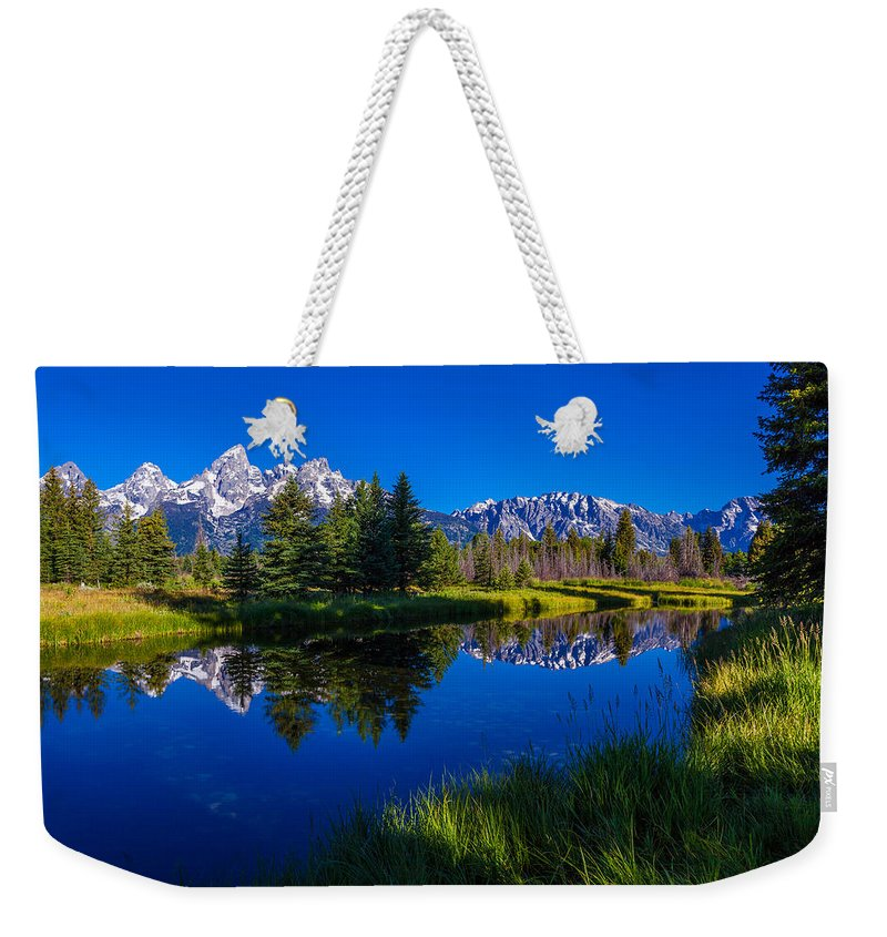 Teton Reflection Weekender Tote Bag featuring the photograph Teton Reflection by Chad Dutson