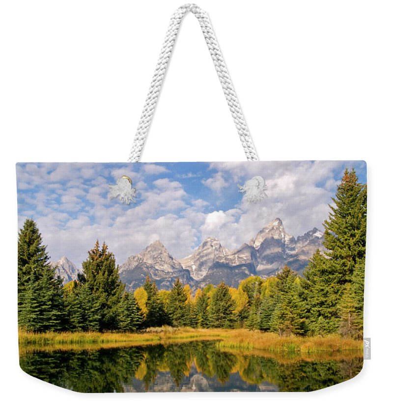 Landscape Weekender Tote Bag featuring the photograph Teton Reflections by Alex Cassels