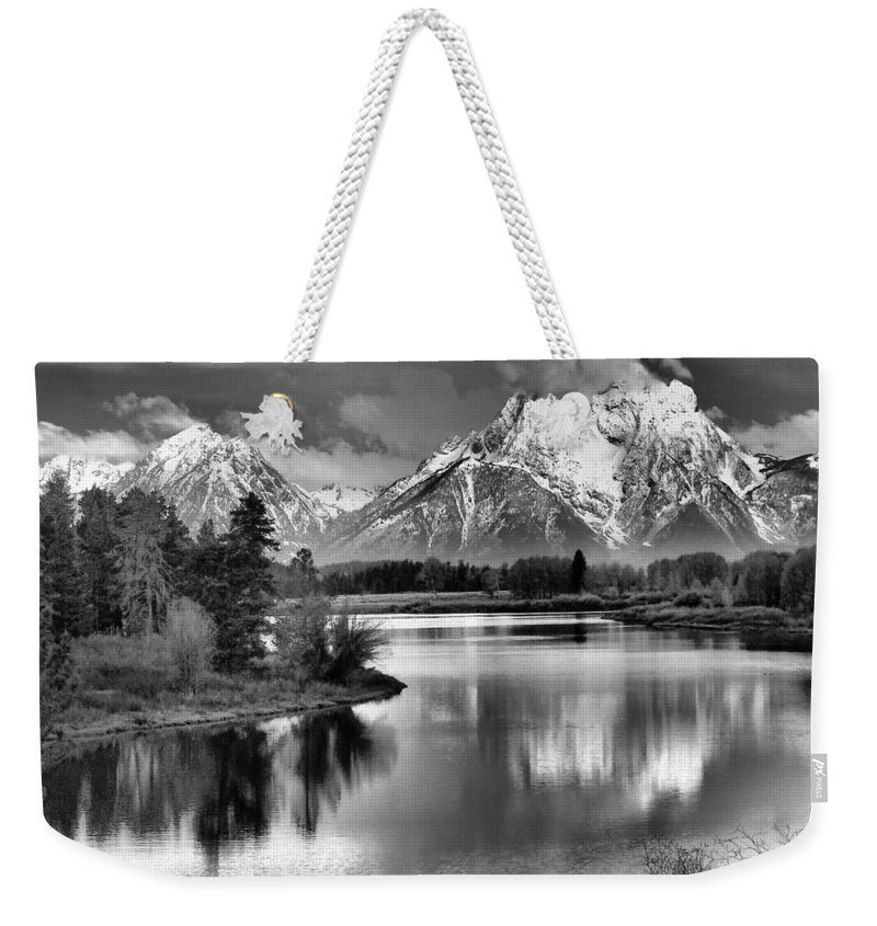 Tetons In Black And White Weekender Tote Bag featuring the photograph Tetons In Black And White by Dan Sproul
