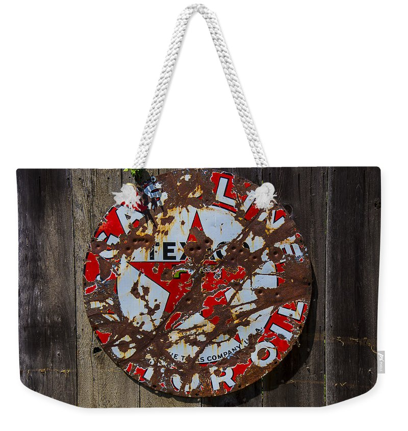Texaco Round Weekender Tote Bag featuring the photograph Texaco Sign by Garry Gay