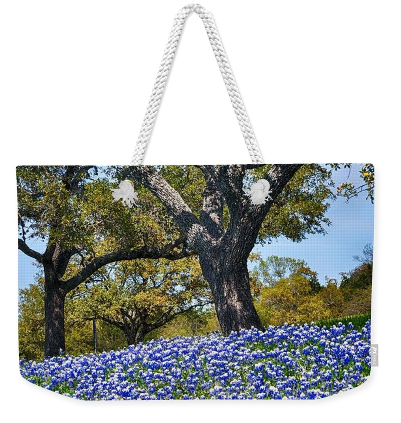 Texas Bluebonnet Field Weekender Tote Bag featuring the photograph Texas Bluebonnet Hill by Kristina Deane
