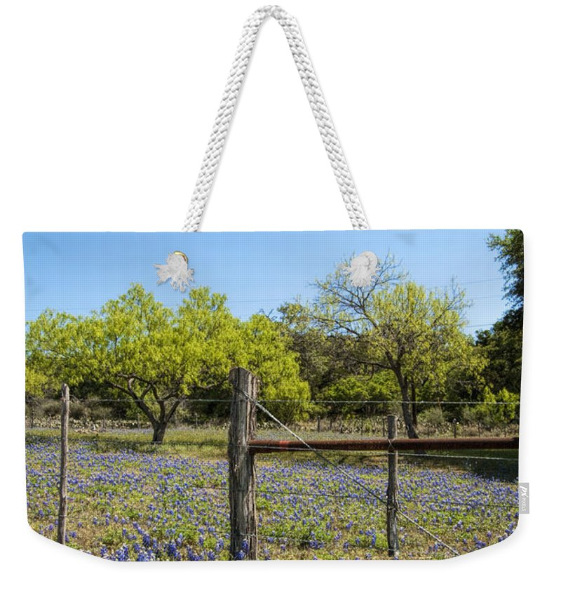 Lupinus Texensis Weekender Tote Bag featuring the photograph Texas Bluebonnet Lupine Pature by Kathy Clark