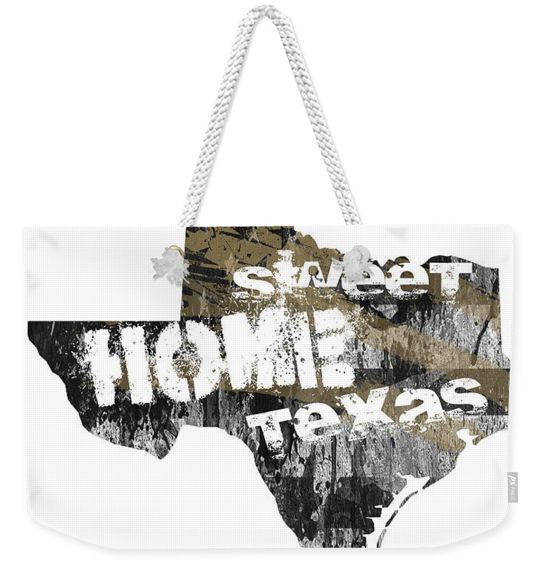 Texas Weekender Tote Bag featuring the digital art Texas Map Cool by Voros Edit