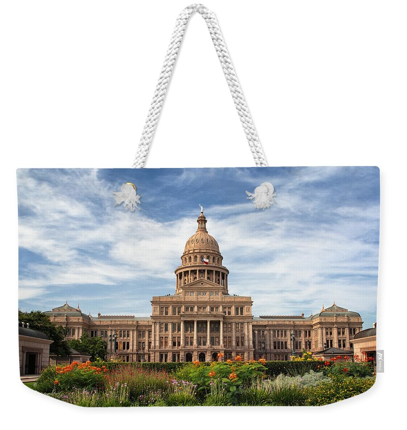 Joan Carroll Weekender Tote Bag featuring the photograph Texas State Capitol II by Joan Carroll