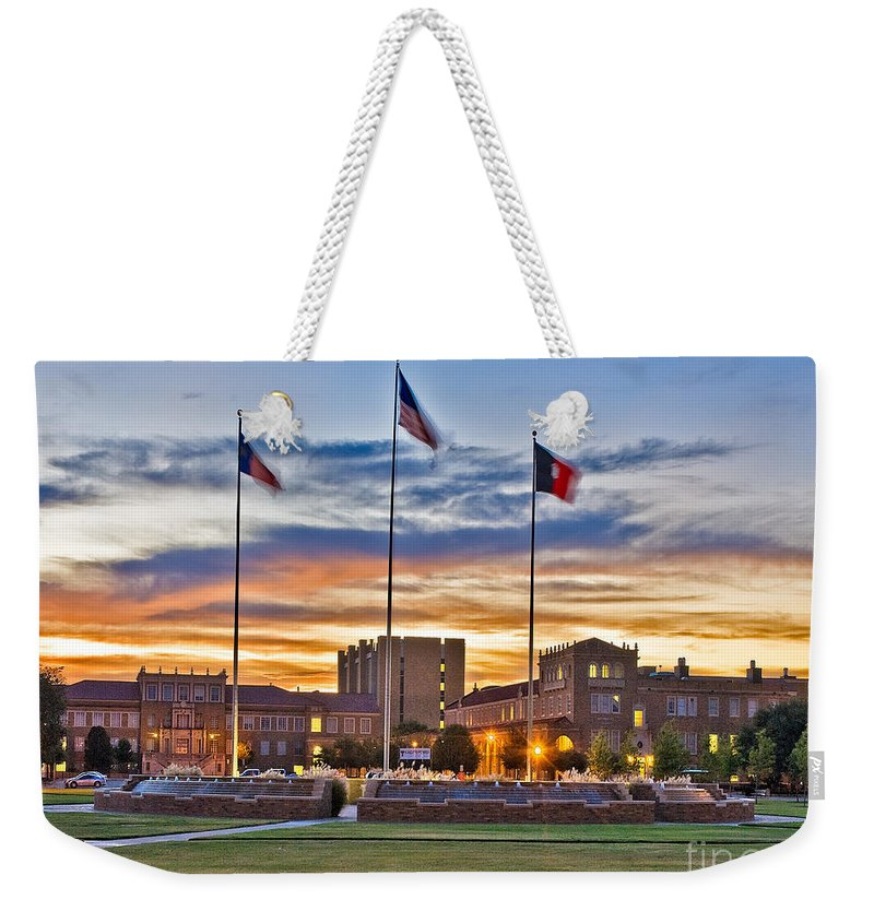 Texas Tech Memorial Circle At Sunset Weekender Tote Bag featuring the photograph Memorial Circle At Sunset by Mae Wertz